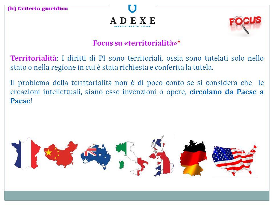 Focus su «territorialità»* Territorialità: I diritti di PI sono territoriali, ossia sono tutelati solo nello stato o nella regione in cui è stata rich
