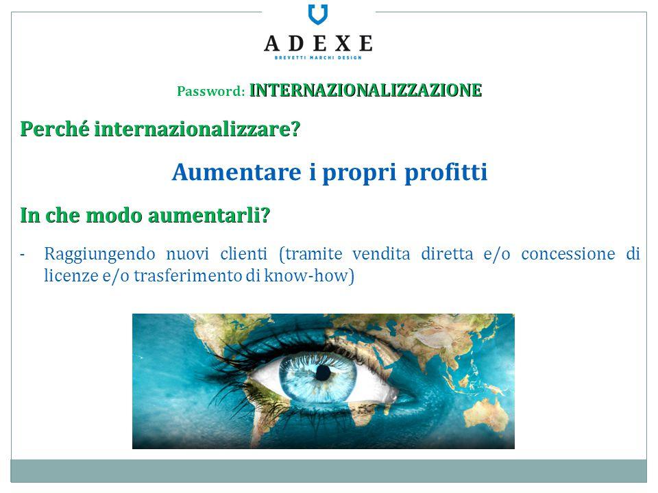 INTERNAZIONALIZZAZIONE Password: INTERNAZIONALIZZAZIONE Perché internazionalizzare? Aumentare i propri profitti In che modo aumentarli? -Raggiungendo