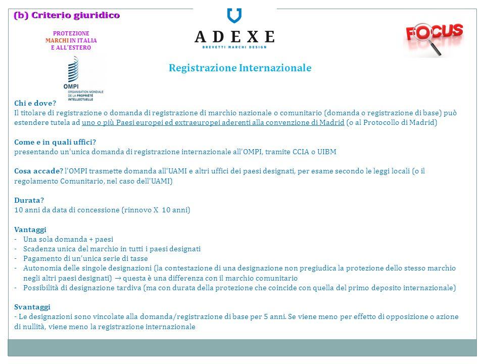 Registrazione Internazionale Chi e dove? Il titolare di registrazione o domanda di registrazione di marchio nazionale o comunitario (domanda o registr