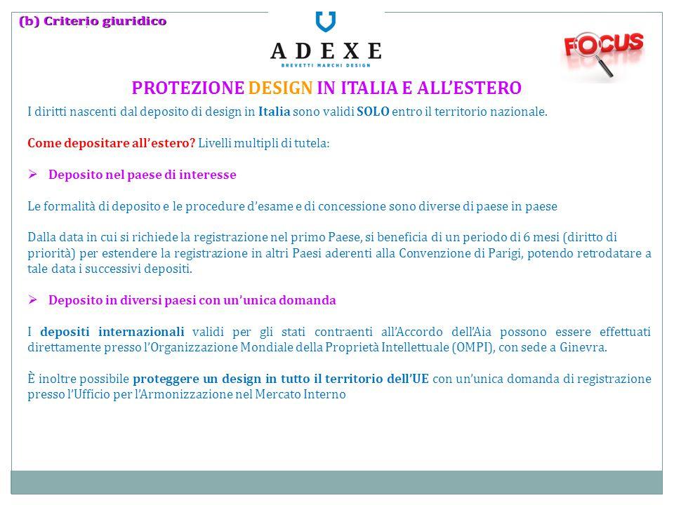 PROTEZIONE DESIGN IN ITALIA E ALL'ESTERO I diritti nascenti dal deposito di design in Italia sono validi SOLO entro il territorio nazionale. Come depo
