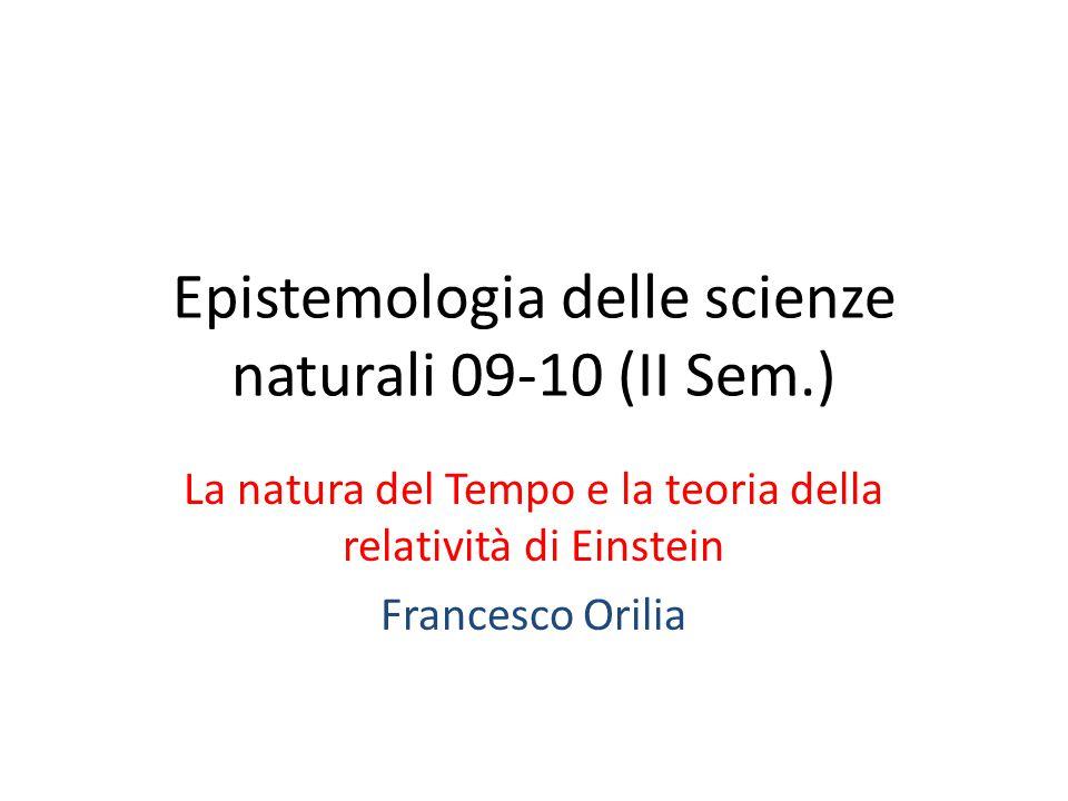 Epistemologia delle scienze naturali 09-10 (II Sem.) La natura del Tempo e la teoria della relatività di Einstein Francesco Orilia