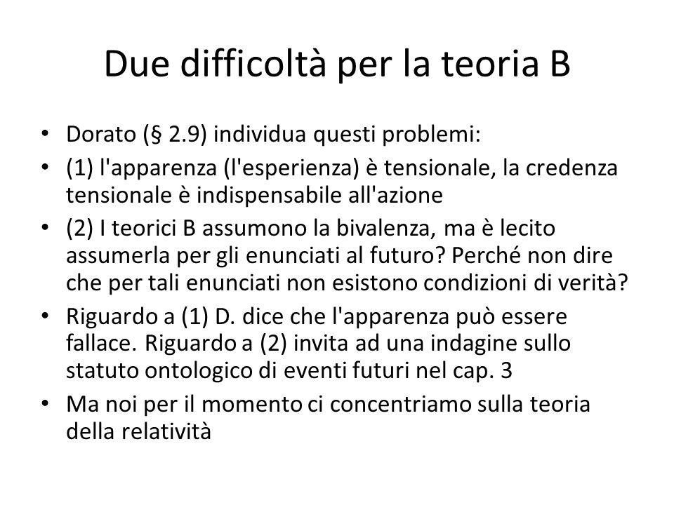 Due difficoltà per la teoria B Dorato (§ 2.9) individua questi problemi: (1) l'apparenza (l'esperienza) è tensionale, la credenza tensionale è indispe