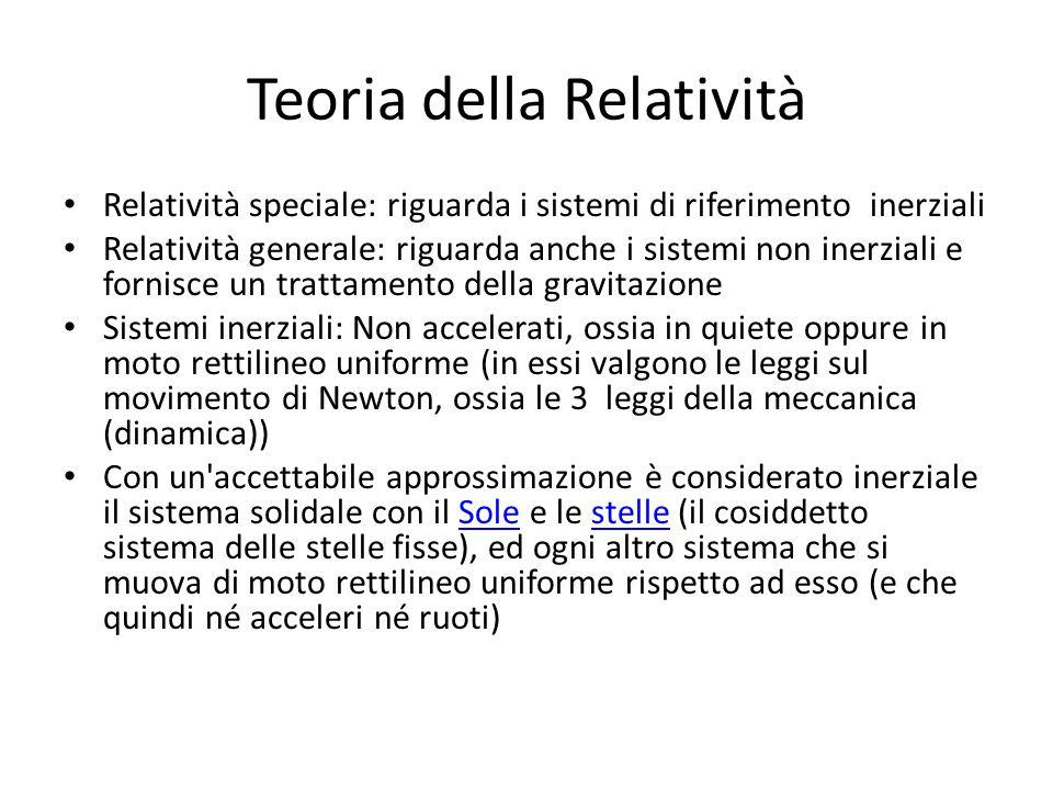 Teoria della Relatività Relatività speciale: riguarda i sistemi di riferimento inerziali Relatività generale: riguarda anche i sistemi non inerziali e
