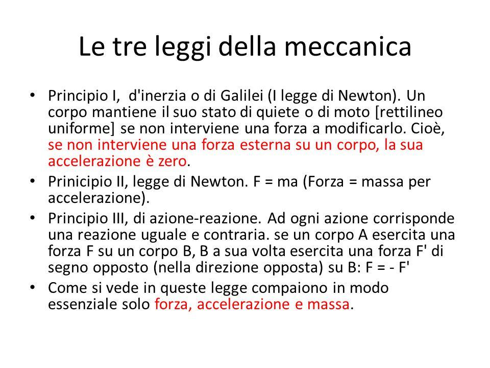 Le tre leggi della meccanica Principio I, d'inerzia o di Galilei (I legge di Newton). Un corpo mantiene il suo stato di quiete o di moto [rettilineo u