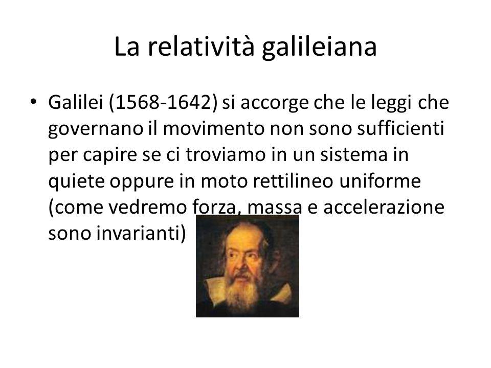 La relatività galileiana Galilei (1568-1642) si accorge che le leggi che governano il movimento non sono sufficienti per capire se ci troviamo in un s