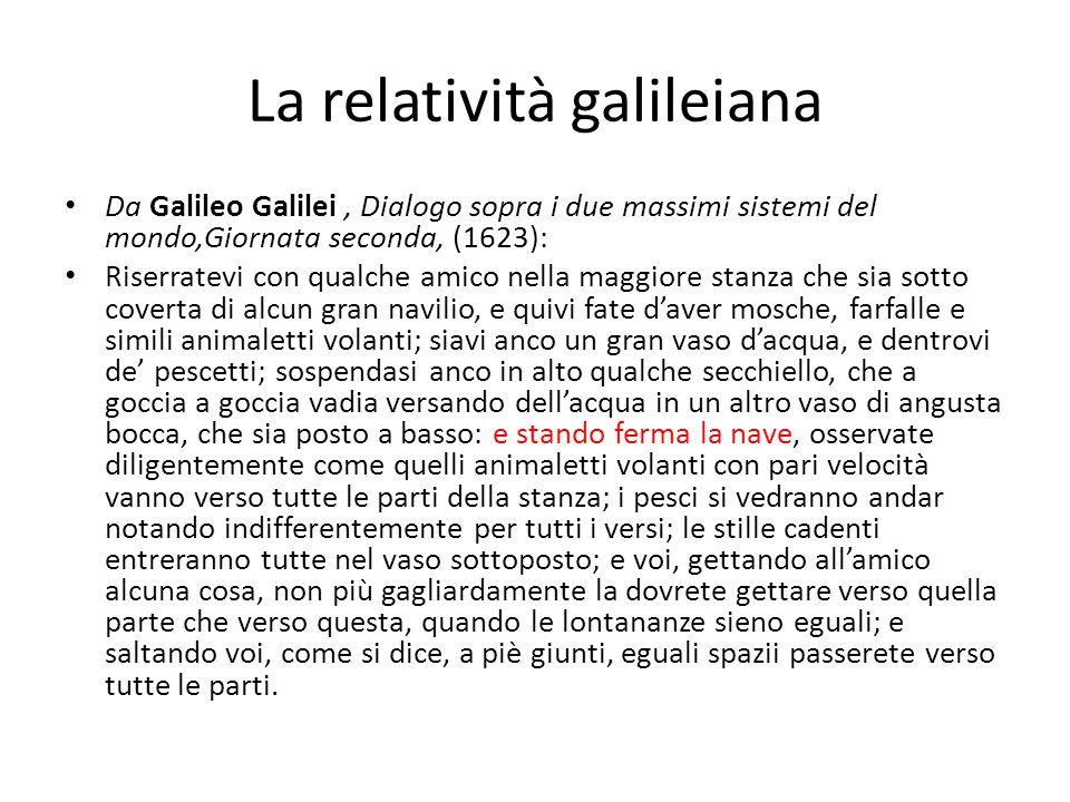 La relatività galileiana Da Galileo Galilei, Dialogo sopra i due massimi sistemi del mondo,Giornata seconda, (1623): Riserratevi con qualche amico nel