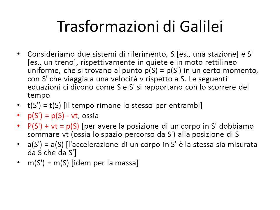 Trasformazioni di Galilei Consideriamo due sistemi di riferimento, S [es., una stazione] e S' [es., un treno], rispettivamente in quiete e in moto ret