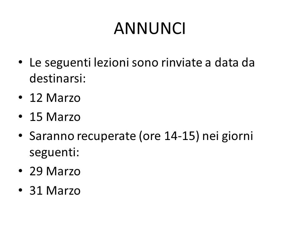 ANNUNCI Le seguenti lezioni sono rinviate a data da destinarsi: 12 Marzo 15 Marzo Saranno recuperate (ore 14-15) nei giorni seguenti: 29 Marzo 31 Marz