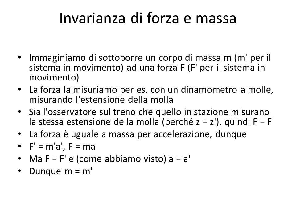 Invarianza di forza e massa Immaginiamo di sottoporre un corpo di massa m (m' per il sistema in movimento) ad una forza F (F' per il sistema in movime
