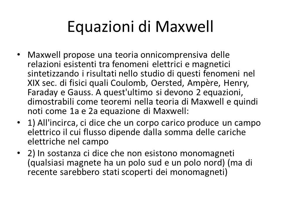 Equazioni di Maxwell Maxwell propose una teoria onnicomprensiva delle relazioni esistenti tra fenomeni elettrici e magnetici sintetizzando i risultati