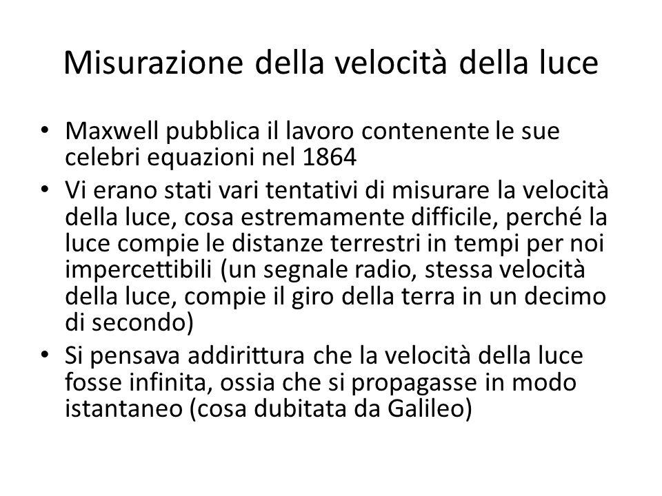 Misurazione della velocità della luce Maxwell pubblica il lavoro contenente le sue celebri equazioni nel 1864 Vi erano stati vari tentativi di misurar