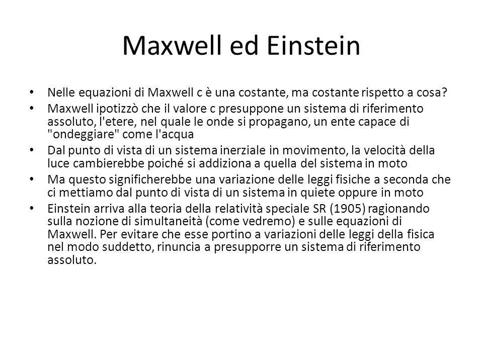 Maxwell ed Einstein Nelle equazioni di Maxwell c è una costante, ma costante rispetto a cosa? Maxwell ipotizzò che il valore c presuppone un sistema d