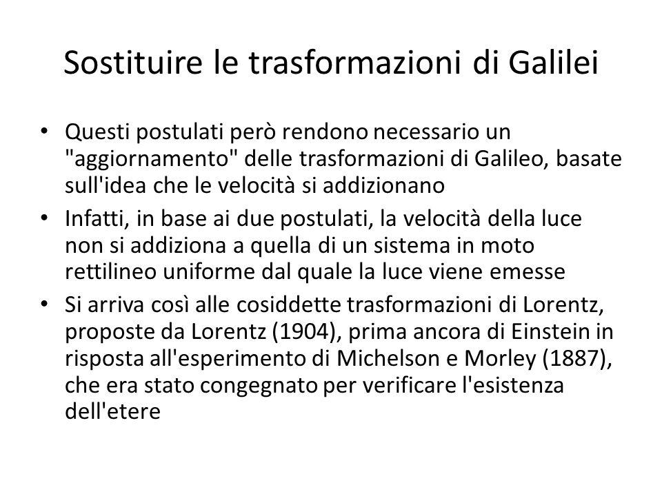 Sostituire le trasformazioni di Galilei Questi postulati però rendono necessario un