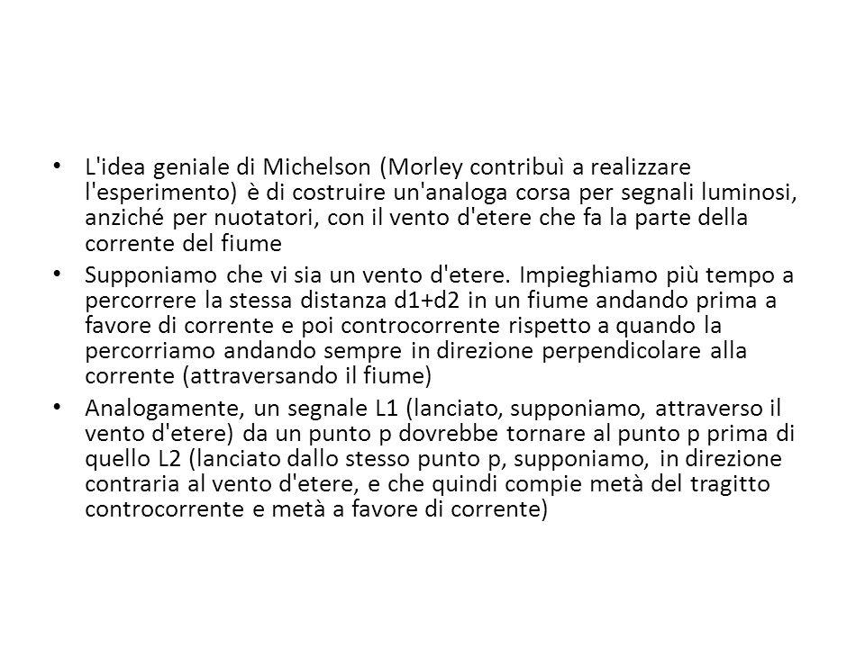L'idea geniale di Michelson (Morley contribuì a realizzare l'esperimento) è di costruire un'analoga corsa per segnali luminosi, anziché per nuotatori,