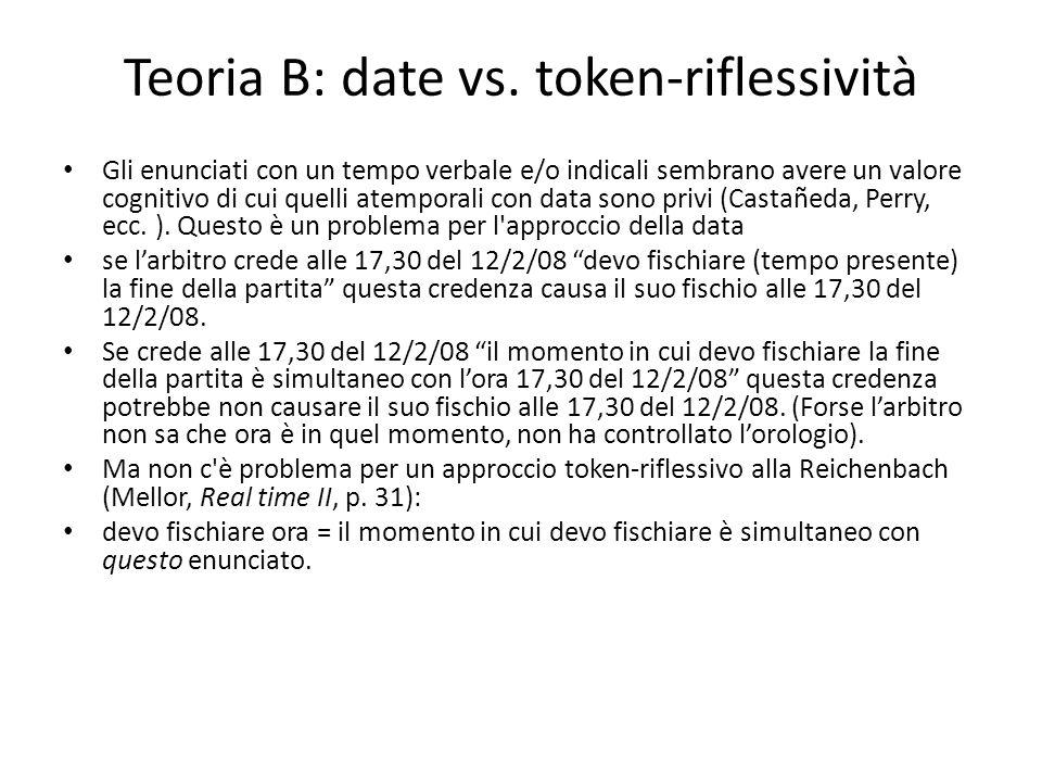 Teoria B: date vs. token-riflessività Gli enunciati con un tempo verbale e/o indicali sembrano avere un valore cognitivo di cui quelli atemporali con