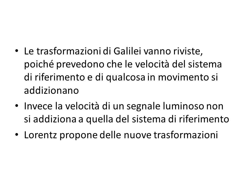 Le trasformazioni di Galilei vanno riviste, poiché prevedono che le velocità del sistema di riferimento e di qualcosa in movimento si addizionano Inve