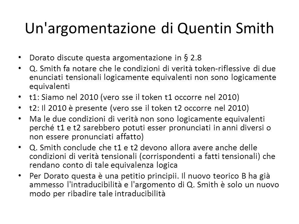 Un'argomentazione di Quentin Smith Dorato discute questa argomentazione in § 2.8 Q. Smith fa notare che le condizioni di verità token-riflessive di du