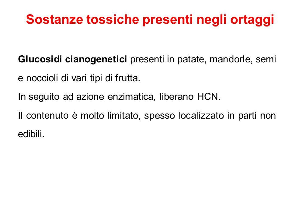 Sostanze tossiche presenti negli ortaggi Glucosidi cianogenetici presenti in patate, mandorle, semi e noccioli di vari tipi di frutta.