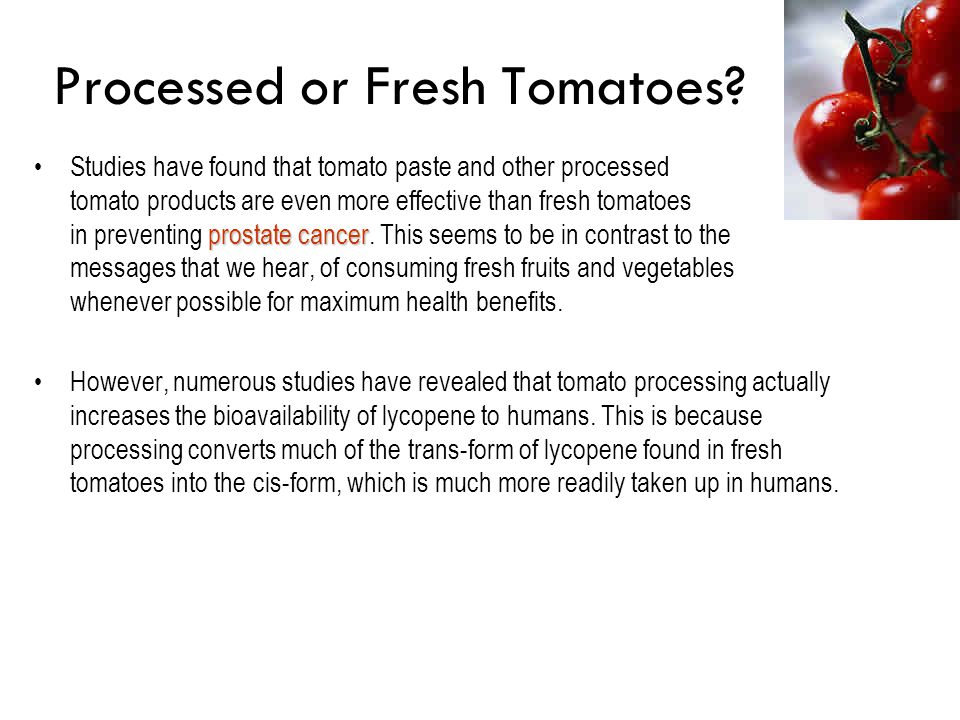 Processed or Fresh Tomatoes? prostate cancerStudies have found that tomato paste and other processed tomato products are even more effective than fres