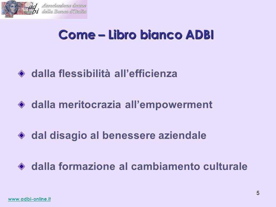 dalla flessibilità all'efficienza dalla meritocrazia all'empowerment dal disagio al benessere aziendale dalla formazione al cambiamento culturale Come – Libro bianco ADBI www.adbi-online.it 5