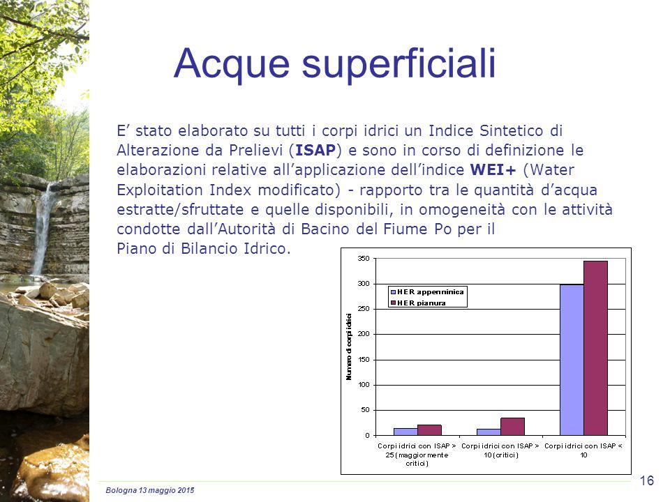 Bologna 13 maggio 2015 16 E' stato elaborato su tutti i corpi idrici un Indice Sintetico di Alterazione da Prelievi (ISAP) e sono in corso di definizione le elaborazioni relative all'applicazione dell'indice WEI+ (Water Exploitation Index modificato) - rapporto tra le quantità d'acqua estratte/sfruttate e quelle disponibili, in omogeneità con le attività condotte dall'Autorità di Bacino del Fiume Po per il Piano di Bilancio Idrico.