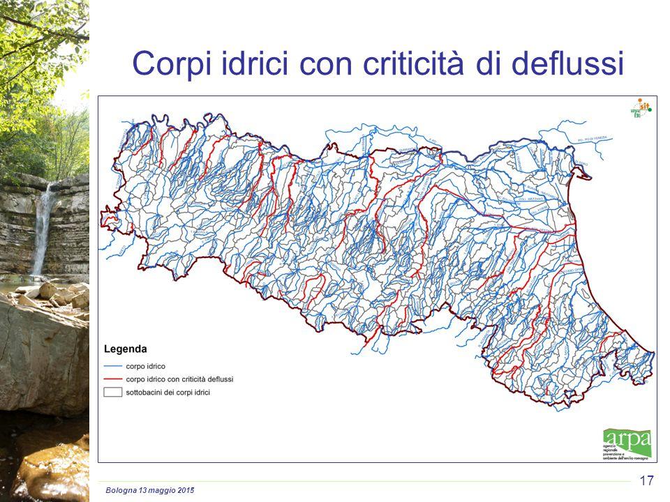 Bologna 13 maggio 2015 17 Corpi idrici con criticità di deflussi