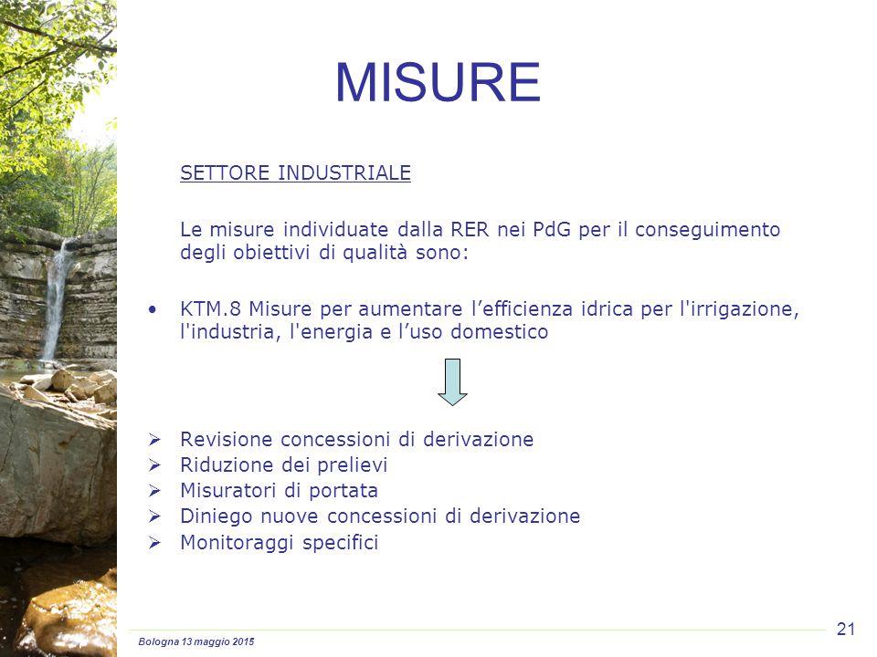 Bologna 13 maggio 2015 21 SETTORE INDUSTRIALE Le misure individuate dalla RER nei PdG per il conseguimento degli obiettivi di qualità sono: KTM.8 Misu