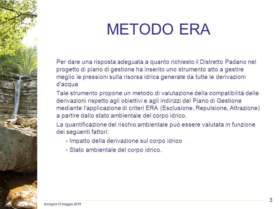 Bologna 13 maggio 2015 3 METODO ERA Per dare una risposta adeguata a quanto richiesto il Distretto Padano nel progetto di piano di gestione ha inserit