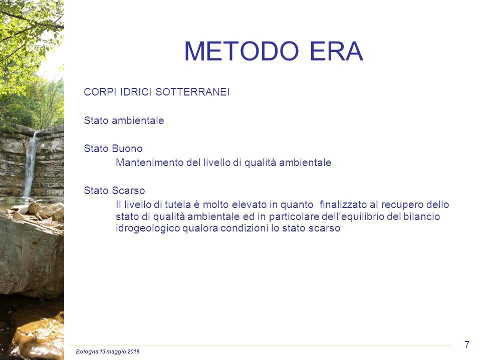 Bologna 13 maggio 2015 7 CORPI IDRICI SOTTERRANEI Stato ambientale Stato Buono Mantenimento del livello di qualità ambientale Stato Scarso Il livello