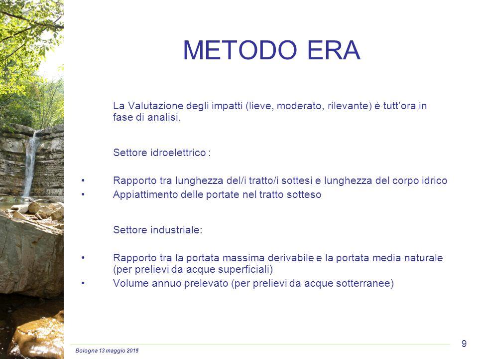 Bologna 13 maggio 2015 9 METODO ERA La Valutazione degli impatti (lieve, moderato, rilevante) è tutt'ora in fase di analisi. Settore idroelettrico : R