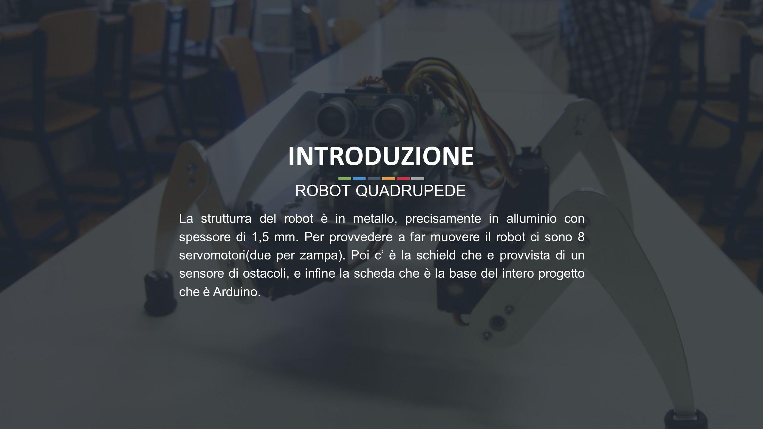 3 La strutturra del robot è in metallo, precisamente in alluminio con spessore di 1,5 mm. Per provvedere a far muovere il robot ci sono 8 servomotori(