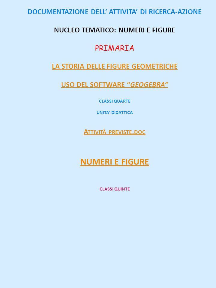 DOCUMENTAZIONE DELL' ATTIVITA' DI RICERCA-AZIONE NUCLEO TEMATICO: NUMERI E FIGURE PRIMARIA LA STORIA DELLE FIGURE GEOMETRICHE USO DEL SOFTWARE GEOGEBRA CLASSI QUARTE UNITA' DIDATTICA A TTIVITÀ PREVISTE.