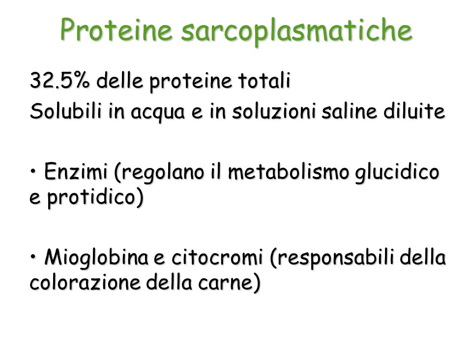 Proteine sarcoplasmatiche 32.5% delle proteine totali Solubili in acqua e in soluzioni saline diluite Enzimi (regolano il metabolismo glucidico e prot