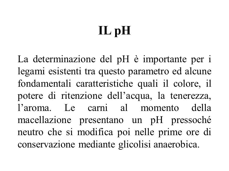 IL pH La determinazione del pH è importante per i legami esistenti tra questo parametro ed alcune fondamentali caratteristiche quali il colore, il pot