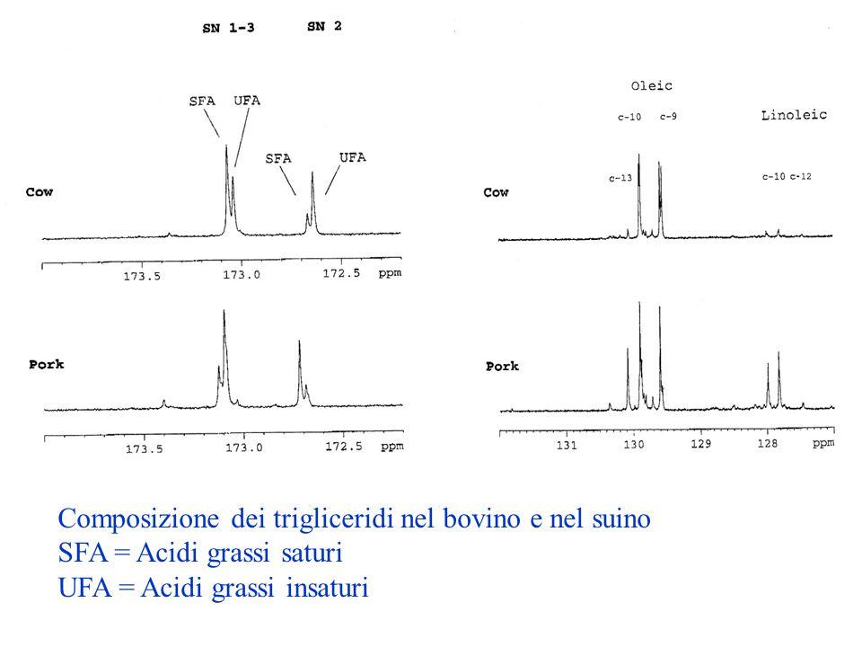 Composizione dei trigliceridi nel bovino e nel suino SFA = Acidi grassi saturi UFA = Acidi grassi insaturi