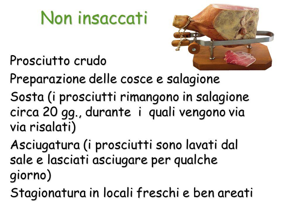 Non insaccati Prosciutto crudo Preparazione delle cosce e salagione Sosta (i prosciutti rimangono in salagione circa 20 gg., durante i quali vengono v