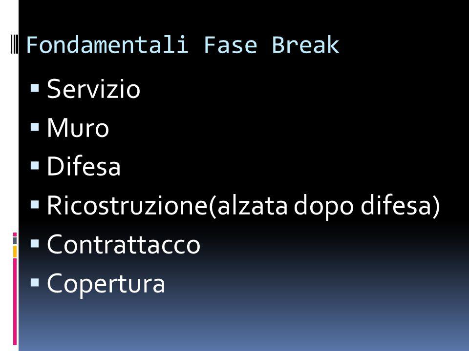 Fondamentali Fase Break  Servizio  Muro  Difesa  Ricostruzione(alzata dopo difesa)  Contrattacco  Copertura