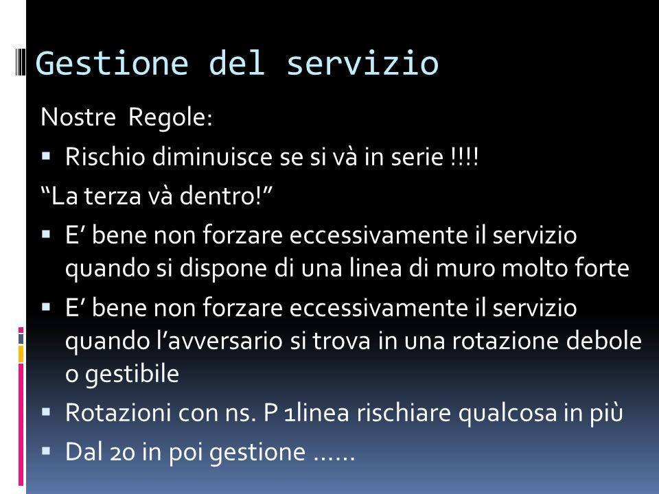 """Gestione del servizio Nostre Regole:  Rischio diminuisce se si và in serie !!!! """"La terza và dentro!""""  E' bene non forzare eccessivamente il servizi"""