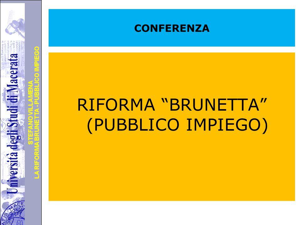 Università degli Studi di Perugia LA RIFORMA BRUNETTA - PUBBLICO IMPIEGO STEFANO VILLAMENA CONFERENZA RIFORMA BRUNETTA (PUBBLICO IMPIEGO)