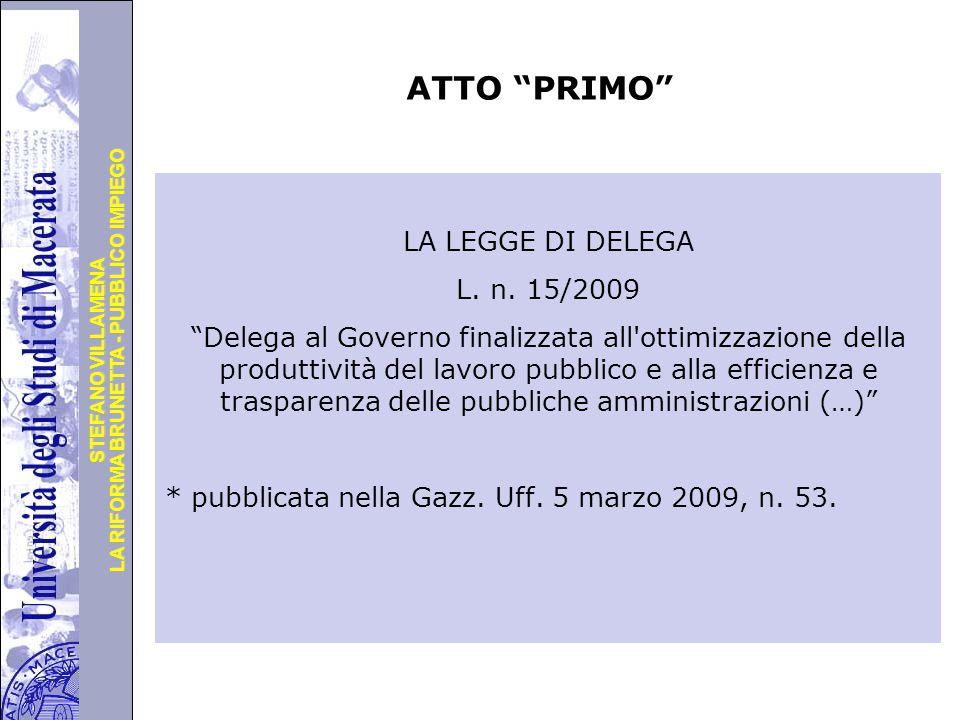 Università degli Studi di Perugia LA RIFORMA BRUNETTA - PUBBLICO IMPIEGO STEFANO VILLAMENA ATTO PRIMO LA LEGGE DI DELEGA L.