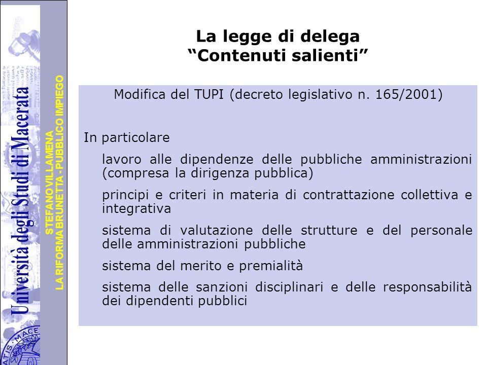 Università degli Studi di Perugia LA RIFORMA BRUNETTA - PUBBLICO IMPIEGO STEFANO VILLAMENA La legge di delega Contenuti salienti Modifica del TUPI (decreto legislativo n.
