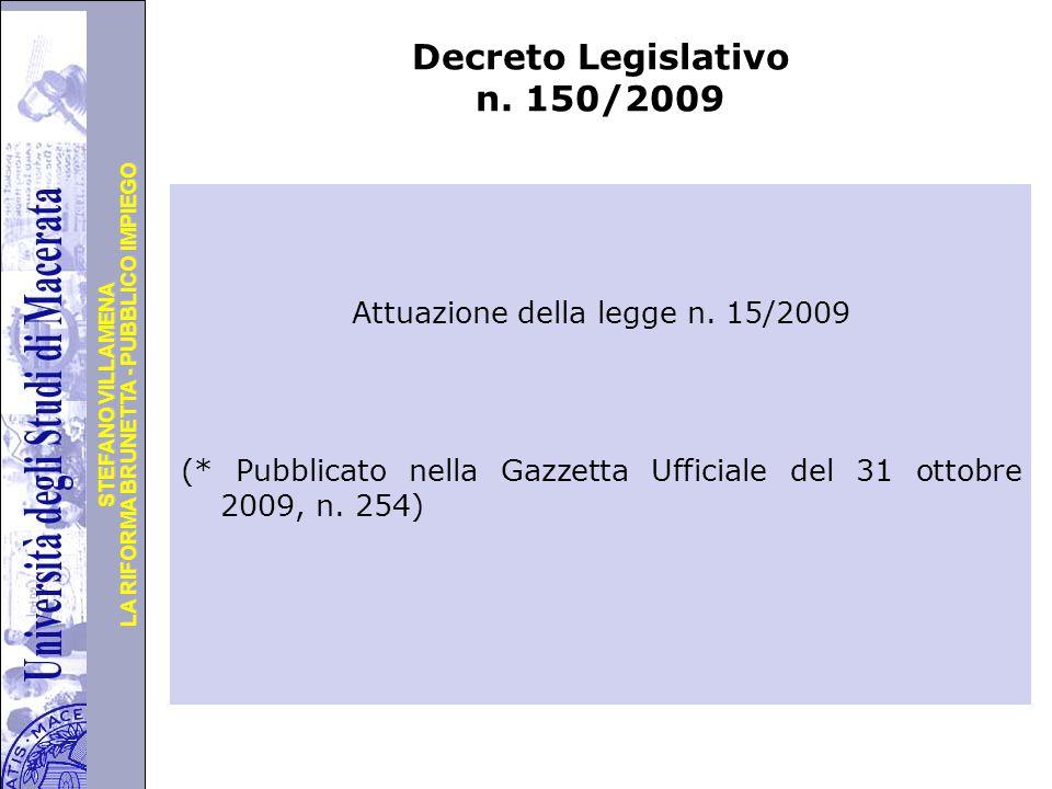 Università degli Studi di Perugia LA RIFORMA BRUNETTA - PUBBLICO IMPIEGO STEFANO VILLAMENA Decreto Legislativo n.
