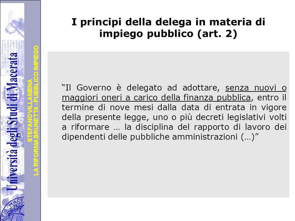 Università degli Studi di Perugia LA RIFORMA BRUNETTA - PUBBLICO IMPIEGO STEFANO VILLAMENA I principi della delega in materia di impiego pubblico (art.