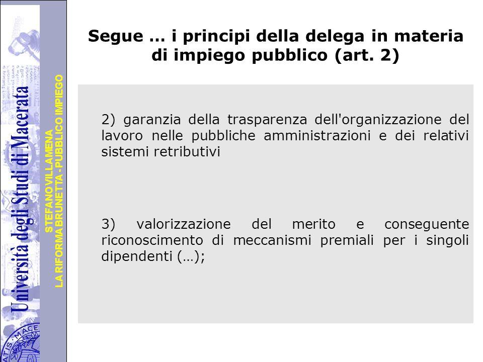 Università degli Studi di Perugia LA RIFORMA BRUNETTA - PUBBLICO IMPIEGO STEFANO VILLAMENA Segue … i principi della delega in materia di impiego pubblico (art.
