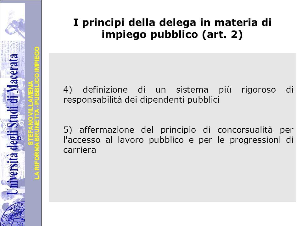 Università degli Studi di Perugia LA RIFORMA BRUNETTA - PUBBLICO IMPIEGO STEFANO VILLAMENA Segue … principi della delega in materia di impiego pubblico (art.