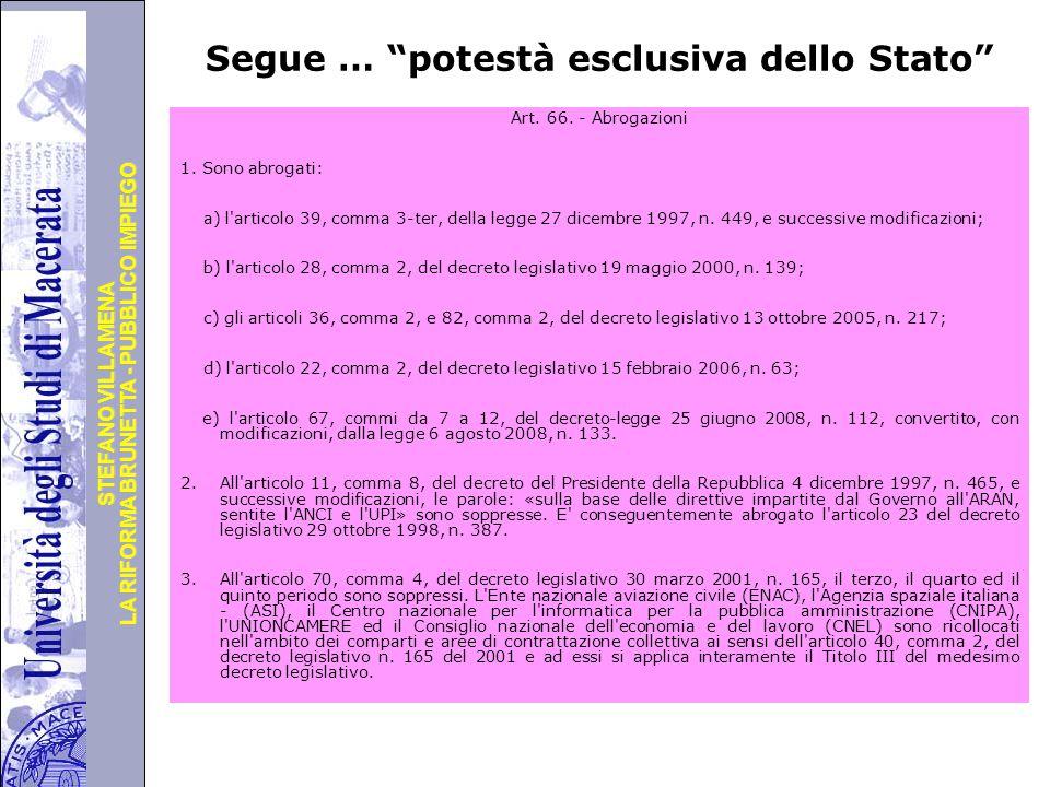Università degli Studi di Perugia LA RIFORMA BRUNETTA - PUBBLICO IMPIEGO STEFANO VILLAMENA Segue … potestà esclusiva dello Stato Art.