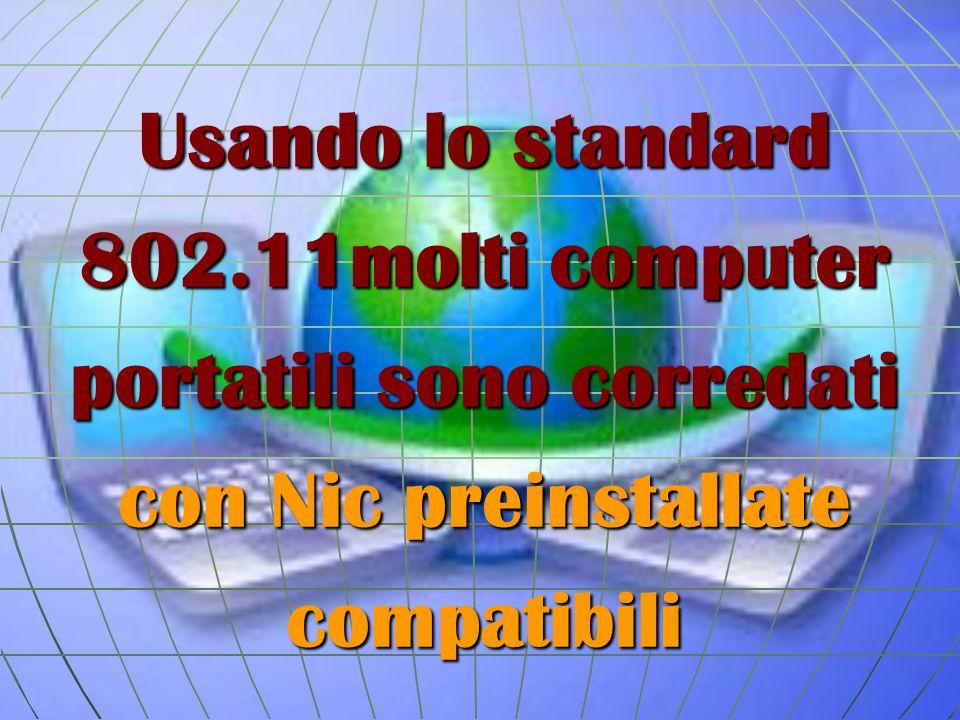 Usando lo standard 802.11molti computer portatili sono corredati con Nic preinstallate compatibili