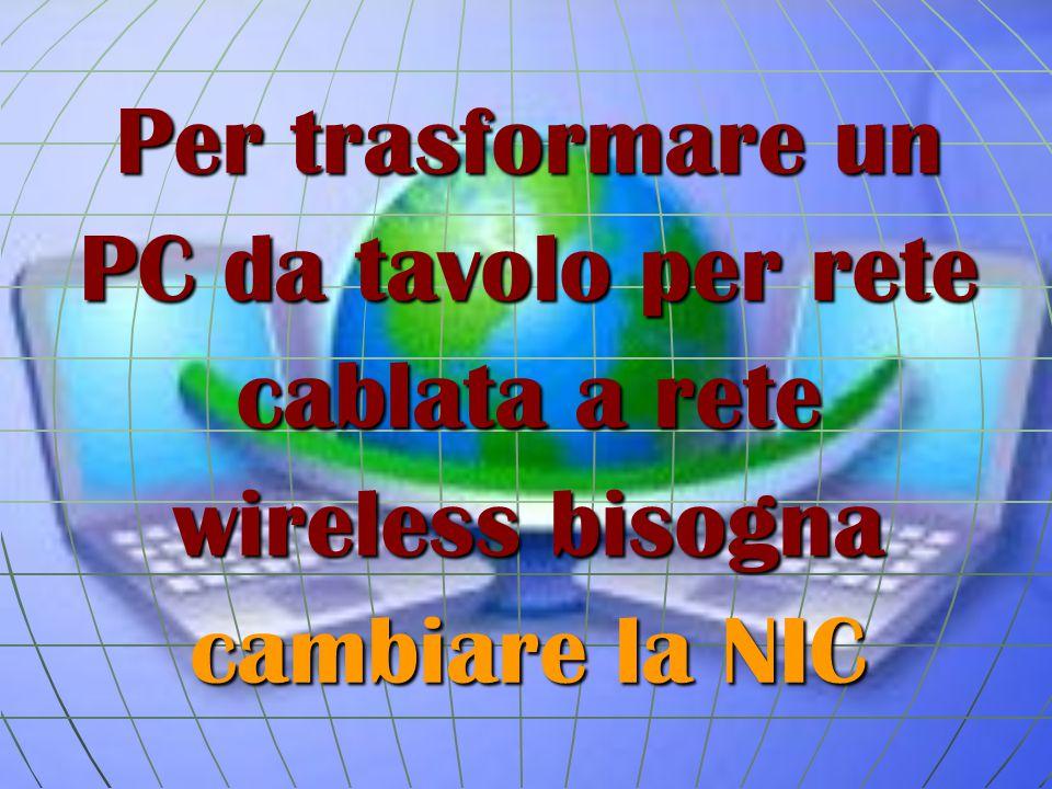 Per trasformare un PC da tavolo per rete cablata a rete wireless bisogna cambiare la NIC
