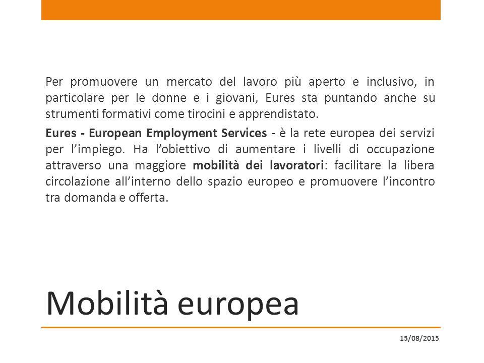 Mobilità europea Per promuovere un mercato del lavoro più aperto e inclusivo, in particolare per le donne e i giovani, Eures sta puntando anche su strumenti formativi come tirocini e apprendistato.