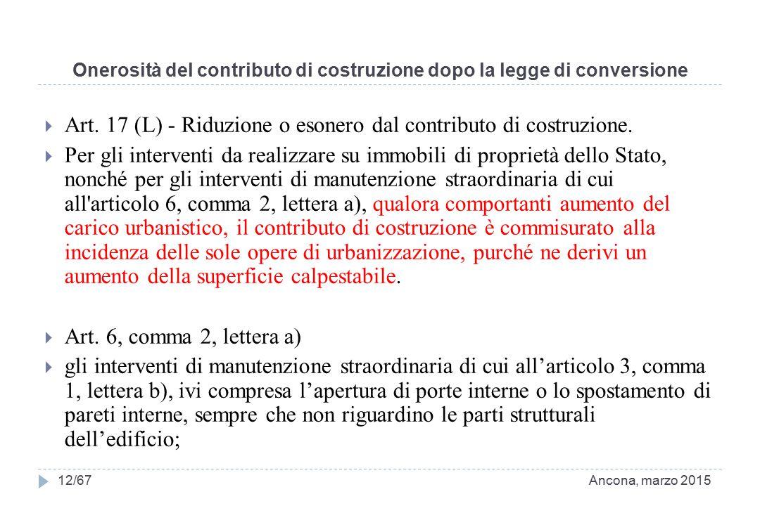 Onerosità del contributo di costruzione dopo la legge di conversione  Art. 17 (L) - Riduzione o esonero dal contributo di costruzione.  Per gli inte